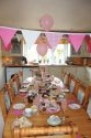 The kitchen decorated for a baby shower