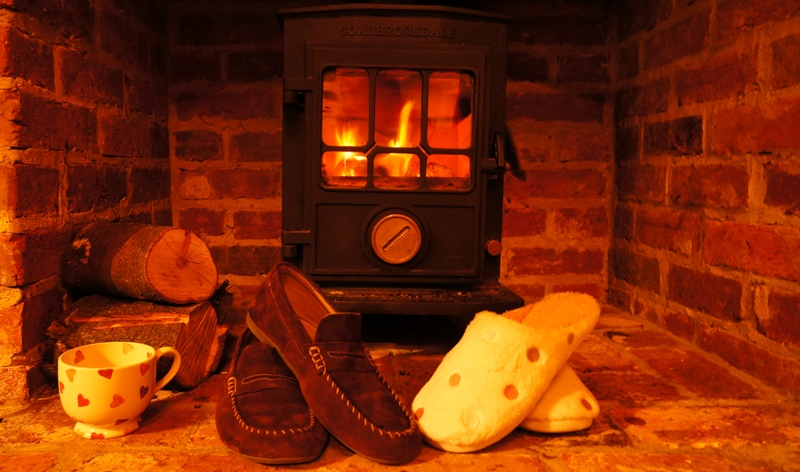 slippers in front of the fire