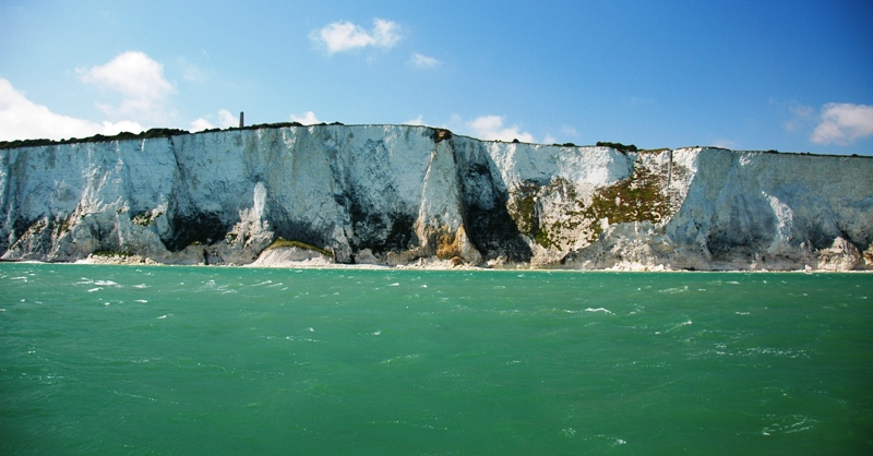 View of the White Cliffs of Dover from the sea