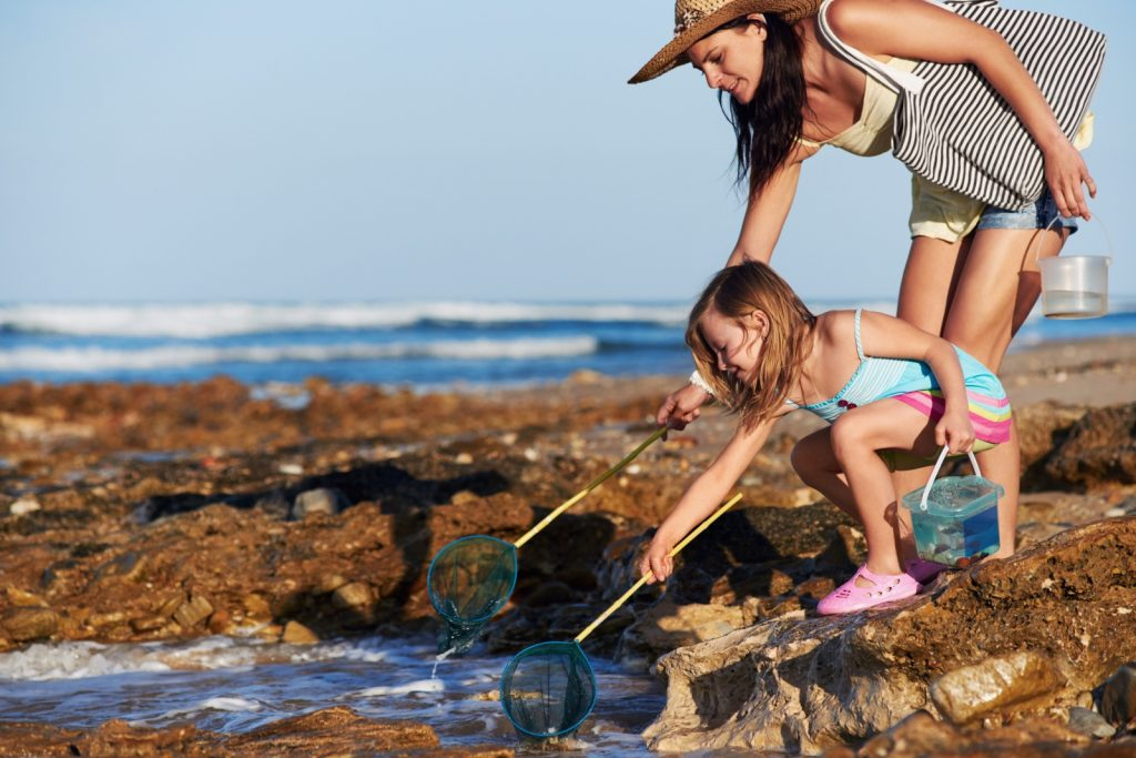 Mother and child with fishing net looking into rock pool by sea