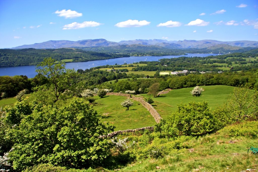 View over green rolling pasture to Lake Windermere