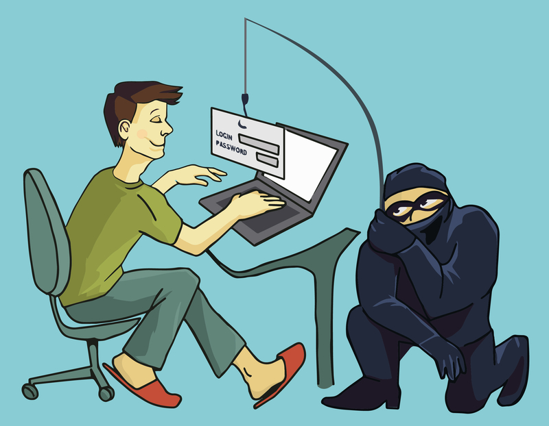 cartoon of a phishing scammer
