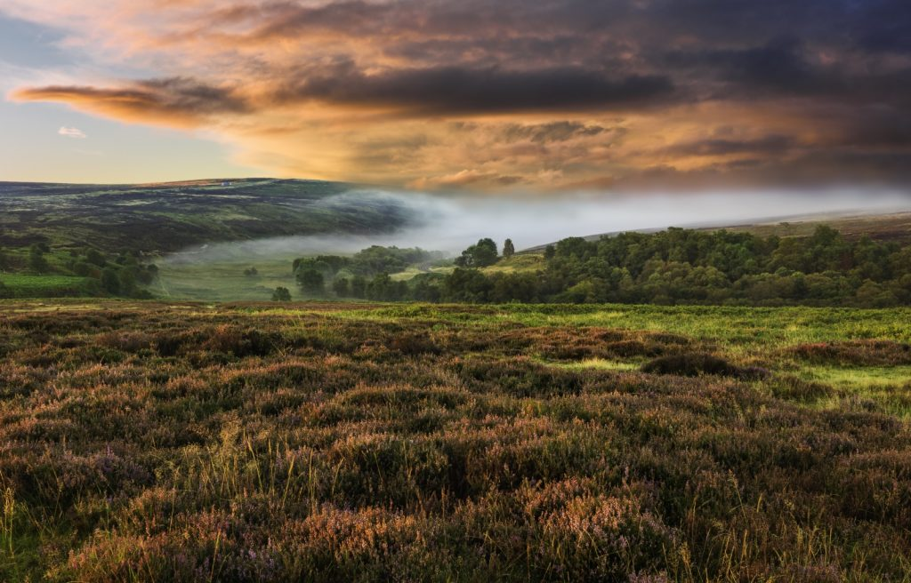 Misty morning shot over the rolling Moors in the Autumn
