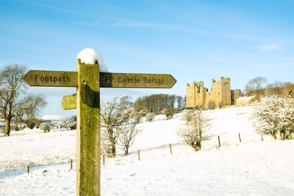 Footpath sign in foreground with snowy scene of Bolton Castle in background