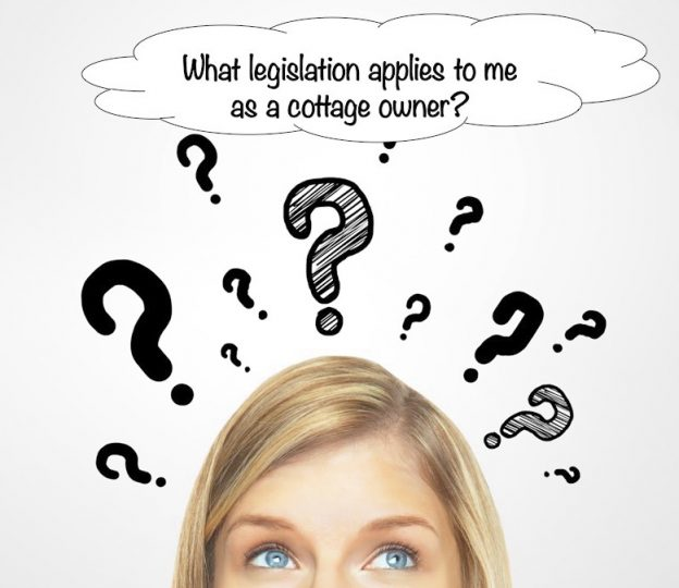 Womens head with question marks coming off it and a bubble saying 'what legislation applies to me as a cottage owner?'